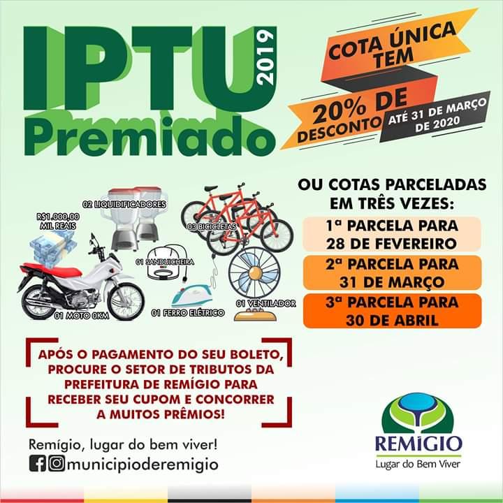 Remígio Lança Campanha IPTU Premiado 2020