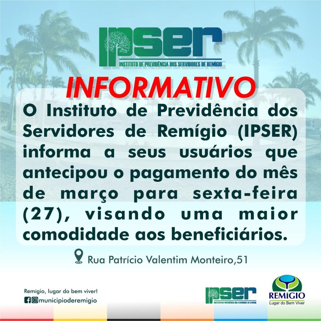 IPSER antecipa data de Pegamento do mês de Março de 2020