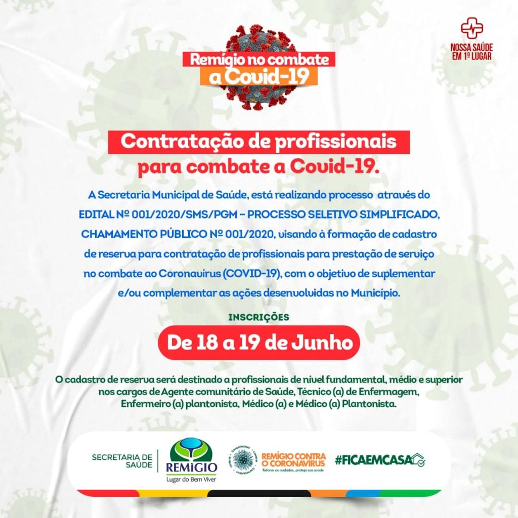 A prefeitura Municipal de Remígio, lança Processo Seletivo Simplificado